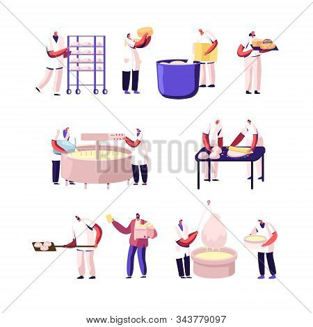 Bakery And Cheese Factory, Food Production Set. Bakers Characters Kneading Dough, Cheesemaker Decant