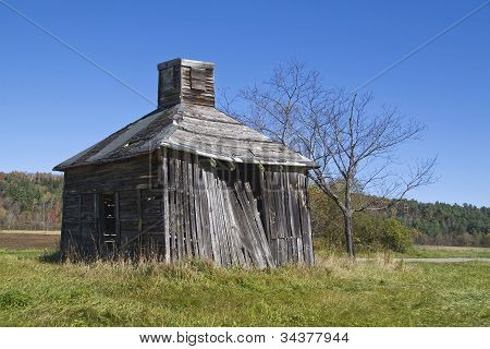 Square Shack In Field In New Hampshire