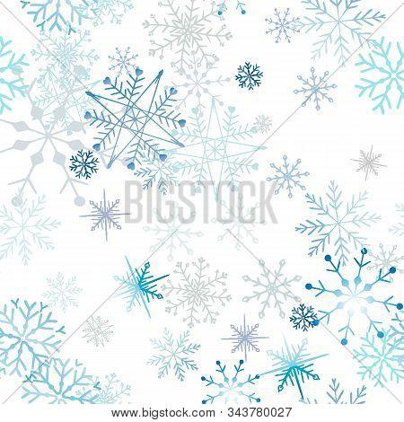Celebrate Freezing Snowflakes Background. Christmas Print Fabric Wonderful Wrapping Surface Pattern