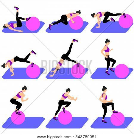Set Of Young Girls Doing Exercises In The Gym. Beautiful Young Woman Doing Exercises With Ball. Full