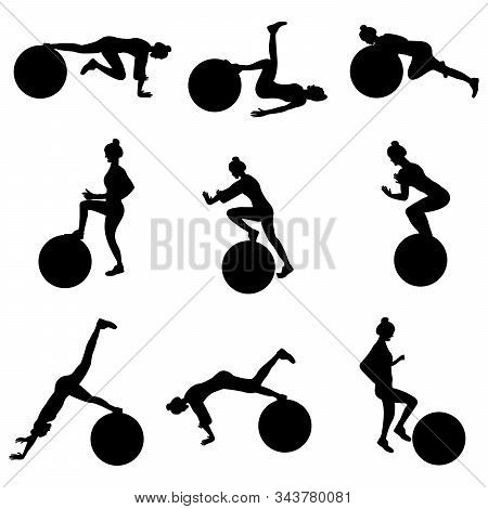 Set Of Young Girls Doing Exercises In The Gym. Beautiful Young Woman Doing Exercises With Ball. Flat
