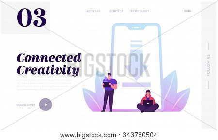 Free Download Website Landing Page. People Characters Stand At Huge Mobile Phone With Upload Sign On