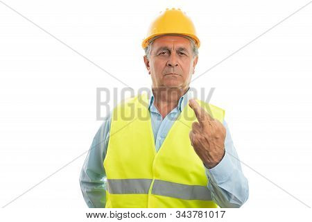 Old Male Builder With Serious Upset Expression Holding Fingers Crossed As Bad Luck Gesture Isolated