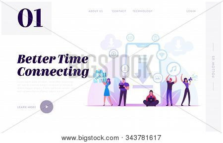 Free Download Website Landing Page. Characters At Huge Smartphone Transfer And Sharing Files Using T