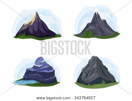 Nature Mountains Set, Variety Of Mountain Massif Vector Illustration