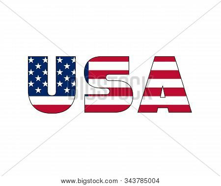 3d Usa Text With American Flag Inside The Text. Vector Illustration On White Background. Usa Flag In