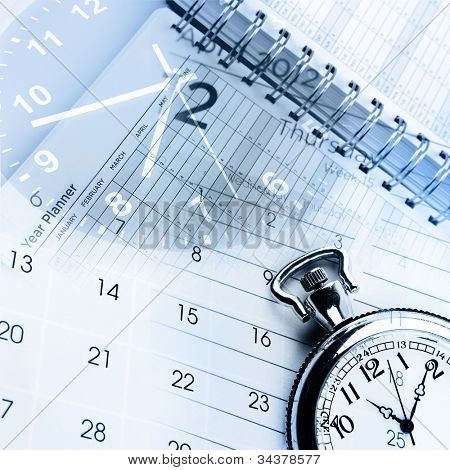 Clocks,calendar and diary pages