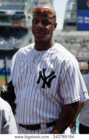 BRONX, NY - JUN 26: Former New York Yankees outfielder Darryl Strawberry during The New York Yankees 65th Old Timers Day game on June 26, 2011 at Yankee Stadium.