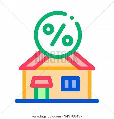 House Borrowed At Interest Credit Icon Vector. Outline House Borrowed At Interest Credit Sign. Isola