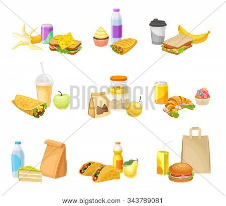 Fast Food Snacks And Drinks Isolated On White Background Vector Set