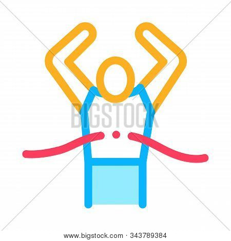 Runner Tearing Ribbon Icon Vector. Outline Runner Tearing Ribbon Sign. Isolated Contour Symbol Illus