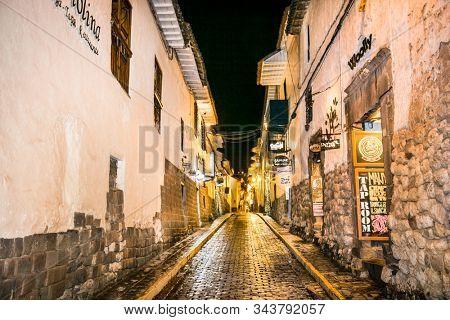 Cusco, Peru - Jan 6, 2019: Historic Colonial Buildings on the Plaza de Armas Square at Night, Cusco, Peru, South America,