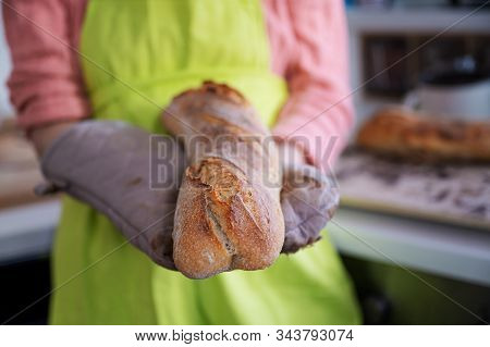 Woman In Green Apron Holding Her Hot Freshly Baked Home Made Sourdough Baguette With Kitchen Mitten.