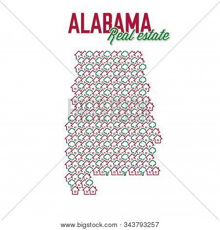 Alabama Real Estate Properties Map. Text Design. Alabama Us State Realty Creative Concept. Icons Of
