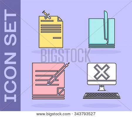 Set Computer With Keyboard And X Mark, Note Paper With Pinned Pushbutton, Blank Notebook And Pen And