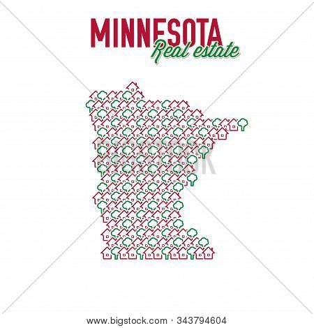Minnesota Real Estate Properties Map. Text Design. Minnesota Us State Realty Creative Concept. Icons