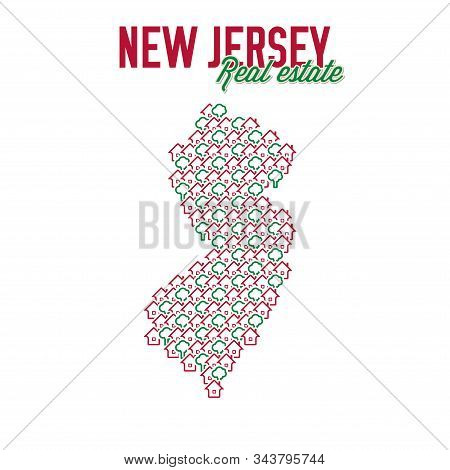 New Jersey Real Estate Properties Map. Text Design. New Jersey Us State Realty Creative Concept. Ico