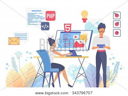 Programming And Web Design Flat Vector Illustration. Ux And Ui Coding. Responsive Interface Developm