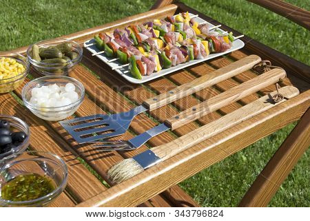 The Barbecue Set W The Meat On The Spits
