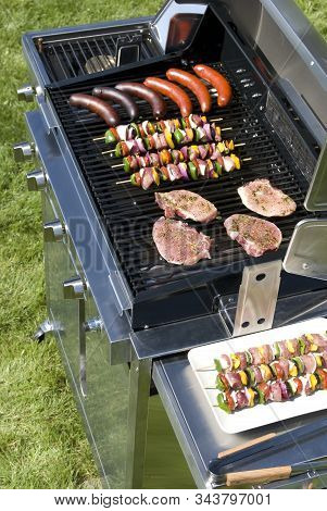 The Grill W The Meat, Spits And Sausages