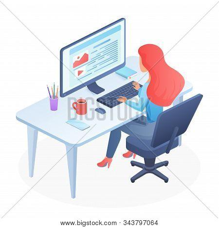 Programming Isometric Woman Vector Illustration. Female Coder Sitting Beside Desk. Javascpirt Course