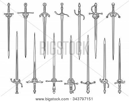 Set Of Simple Monochrome Vector Images Of Rapiers And Epees Drawn By Lines.