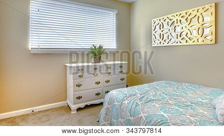 Panorama Frame Cozy Bedroom With Twin Bed, Carpet And Indoor Plant On The Dresser