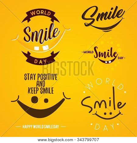 Set Of Funny Emblem Design World Smile Day Vector On The Yellow Background. Letter Vector World Smil