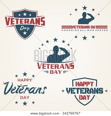 Set Of Vintage Latter Happy Veterans Day Concept Background. Illustration Of Happy Veterans Day Vect