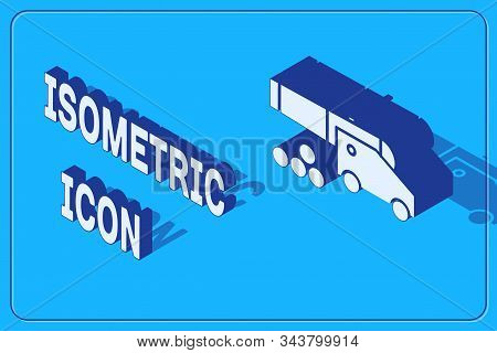 Isometric Cannon With Cannonballs Icon Isolated On Blue Background. Medieval Weapons. Vector Illustr