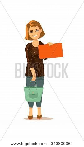 Vector Illustration. The Girl With The Bag Stands And Shows The Card