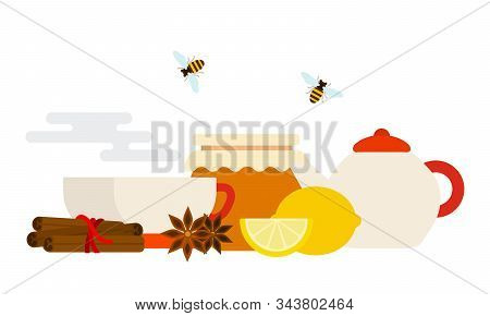 Cinnamon, Lemon, Anise, Teapots For Tea Making, Pot Of Honey, Tea Cups With Hot Steam And Flying Bee