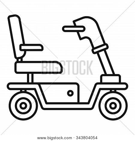 Motorized Wheelchair Icon. Outline Motorized Wheelchair Vector Icon For Web Design Isolated On White
