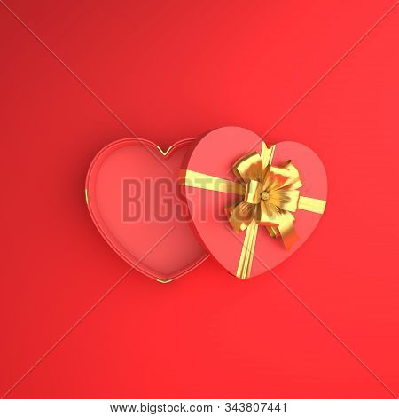 Happy Valentines Day, Valentines Day Background, Opened Heart Shape Gift Box Gold Ribbon On Red Back