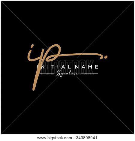 Letter Initial Ip Signature Logo Template Vector