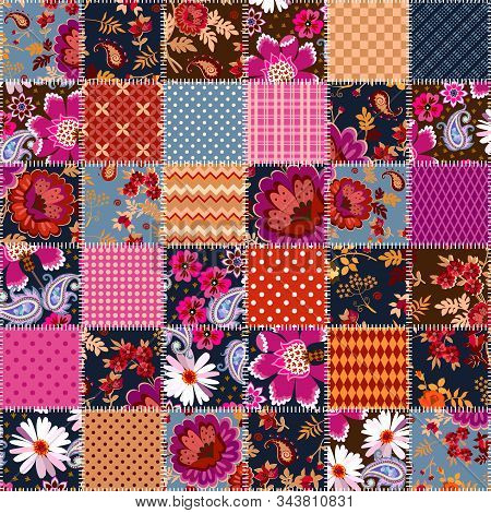 Festive Seamless Patchwork Pattern With Flowers And Geometric Ornaments. Quilting Design. Blanket, P