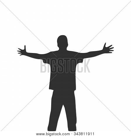 Men With Wide Open Hands With Palm Extended Silhouette. Stock Vector Illustration Isolated On White