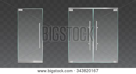 Clear Glass Doors For Office Or Shop Isolated On Transparent Background. Vector Realistic Set Of Sin