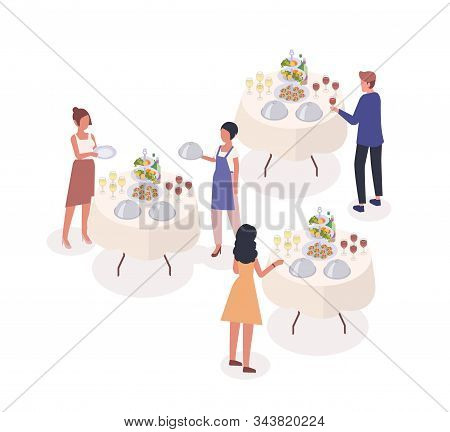Social Event Isometric Vector Illustration. Guests Drinking Wine, Tasting Snacks At Banquet Cartoon