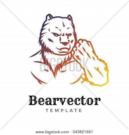 Bear Sport Vector Logo Concept Isolated On White Background. Modern Predator Professional Team Badge