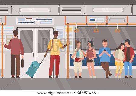 Metro, Subway Train, Public Transport Flat Vector Illustration. Underground Railway Carriage Interio