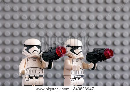 Tambov, Russian Federation - July 08, 2018 Two Lego First Order Stormtroopers Minifigures With Blast
