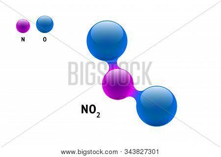 Chemistry Model Molecule Nitrogen Dioxide No2 Scientific Element Formula. Integrated Particles Natur