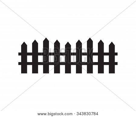 Vector Black Flat Garden Fence Silhouette Isolated On White Background