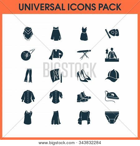Fashionable Icons Set With Sleeveless Shirt, Embroideries, Flared Jeans And Other Handicraft Element