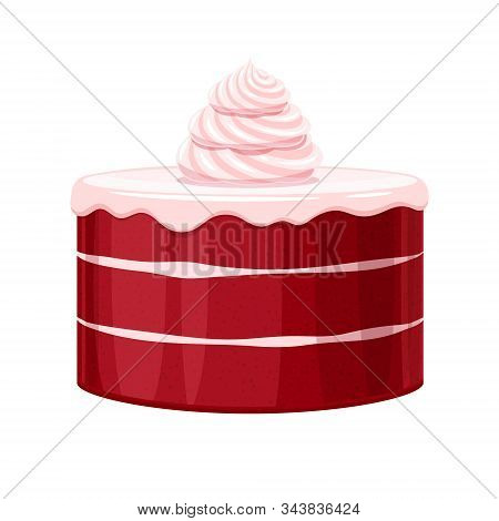 Colorful Birthday Red Velvet Cake Decorated With Cream Vector Illustration.
