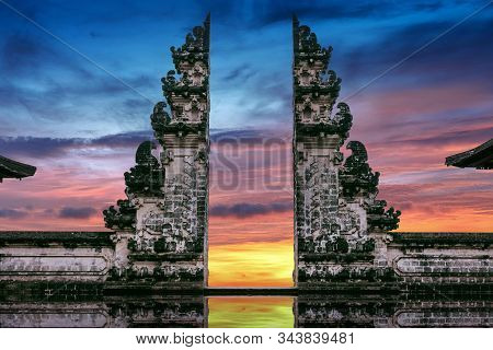 Temple Gates At Lempuyang Luhur Temple In Bali, Indonesia.