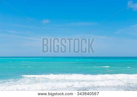 Beautiful Cerulean Sea, Sky And Waves, Tyrrhenian Sea In Tuscany, Italy