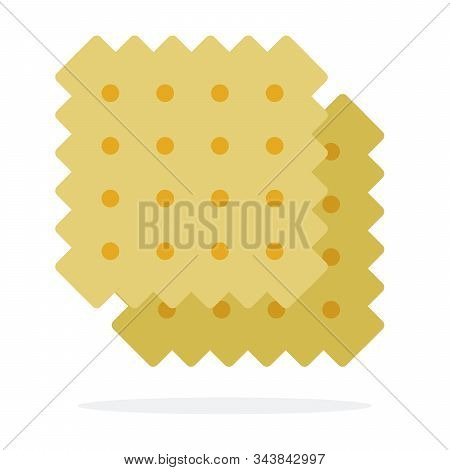 Two Wheat Salty Crackers Vector Flat Isolated
