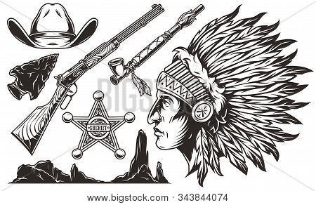 Vintage Wild West Elements Set With Cowboy Hat Flint Arrowhead Rifle Sheriff Badge Smoking Pipe Dese